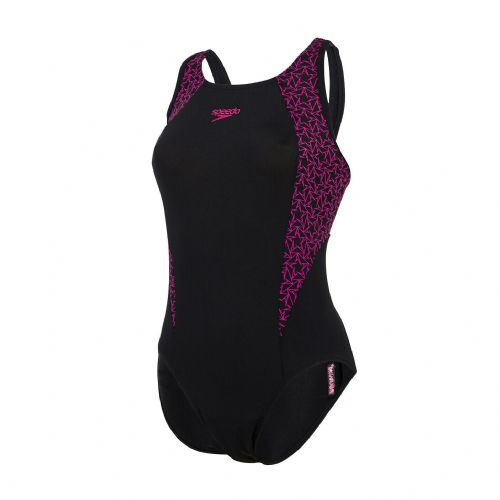 SPEEDO WOMENS SWIMSUIT.NEW BOOMSTAR SPLICE FLYBACK BLACK PINK SWIMMING COSTUME 4